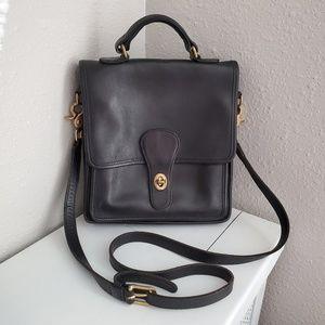 Vintage Leather Black Coach Satchel Bag